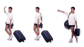 Die Frau, die für Sommerferien sich vorbereitet Stockfoto
