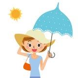 Die Frau, die ihren Sonnenschutz aufstellt Stockfotos