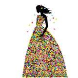 Die Frau, die im Frühjahr gekleidet wird, blüht und Schmetterlinge Stockfotos