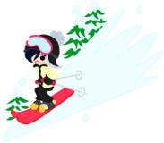 Die Frau, die Ski fährt Stockfotos