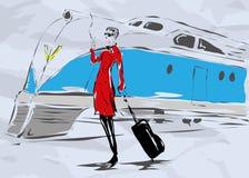 Die Frau in einem roten Mantel mit einer Zigarette Stockfotos