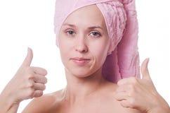 Die Frau in einem Tuch Stockfoto