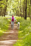Die Frau geht mit einem Hund Stockbild