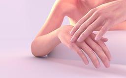 Die Frau, die Hand Sahne-3d anwendet, übertragen stock abbildung
