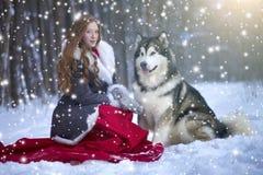 Die Frau im grauen Mantel mit einem Hund oder einem Wolf Stockfotografie