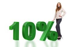 Die Frau im 10-Prozent-Verkaufskonzept stockfotografie