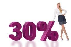 Die Frau im 30-Prozent-Verkaufskonzept lizenzfreie stockfotos