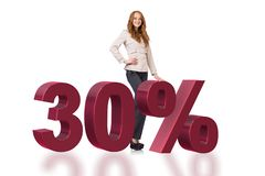 Die Frau im 30-Prozent-Verkaufskonzept lizenzfreie stockbilder