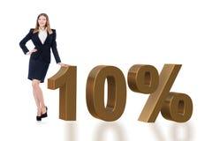 Die Frau im 10-Prozent-Verkaufskonzept lizenzfreie stockfotos