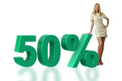 Die Frau im 50-Prozent-Verkaufskonzept stockfoto
