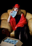 Die Frau im Rot Stockfotos