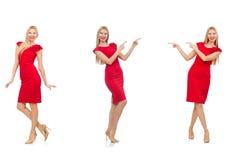 Die Frau im roten Kleid auf Weiß Lizenzfreies Stockbild