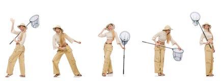 Die Frau mit anziehendem Netz Stockfotos
