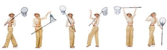 Die Frau mit anziehendem Netz auf Weiß Lizenzfreies Stockbild