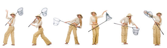 Die Frau mit anziehendem Netz auf Weiß Stockfoto