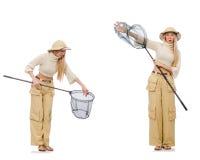 Die Frau mit anziehendem Netz auf Weiß Stockfotos