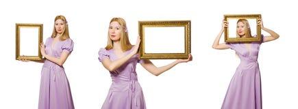 Die Frau mit Bilderrahmen auf Weiß Lizenzfreies Stockfoto