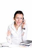 Die Frau mit Cell-phone Lizenzfreie Stockfotografie