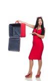 Die Frau mit dem Koffer gebrochen in Stockfoto