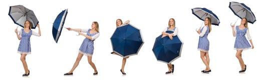 Die Frau mit dem Regenschirm lokalisiert auf Weiß Lizenzfreies Stockfoto