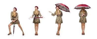 Die Frau mit dem Regenschirm lokalisiert auf Weiß stockfotos