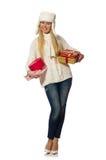Die Frau mit den giftboxes lokalisiert auf Weiß stockfoto