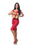 Die Frau mit den giftboxes lokalisiert auf Weiß lizenzfreies stockbild