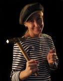 Die Frau mit einem Hammer Stockfoto