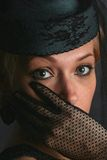 Die Frau mit einem schwarzen Schleier Stockfoto