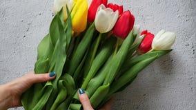 Die Frau ` s Hand setzt einen hellen Blumenstrauß von Tulpen auf dem Tisch in Zeitlupe ein stock footage