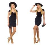 Die Frau schaut in Mode auf Weiß lokalisiert Stockfotos