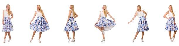 Die Frau schaut in Mode auf Weiß lokalisiert Stockbild