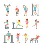 Die Frau und Mann, die verschiedenen Sport tun, trainiert mit Turnhallenausrüstung Eignungskarikatur-Vektorleute, Turnhallentrain lizenzfreie abbildung