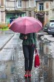 Die Frau unter einem Regenschirm lizenzfreie stockbilder