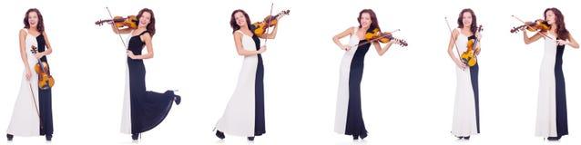 Die Frau, welche die Violine lokalisiert auf weißem Hintergrund spielt lizenzfreies stockbild