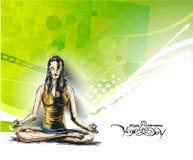 Die Frauen, die Yoga üben, werfen - 21. Juni internationalen Yogatag auf stock abbildung
