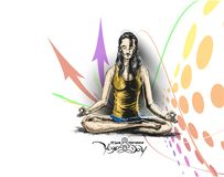 Die Frauen, die Yoga üben, werfen - 21. Juni internationalen Yogatag auf vektor abbildung