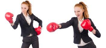 Die Frauengeschäftsfrau mit Boxhandschuhen auf Weiß Lizenzfreies Stockbild