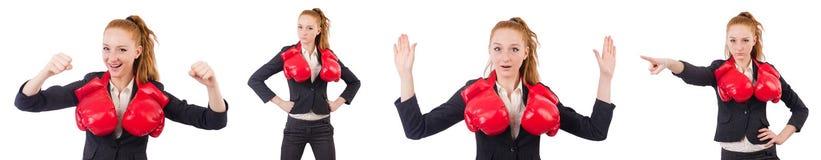 Die Frauengeschäftsfrau mit Boxhandschuhen auf Weiß Stockbild