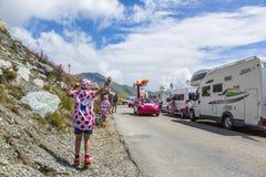 Die Freude am Werbewohnwagen - Tour de France 2015 Lizenzfreies Stockfoto