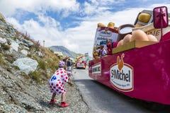 Die Freude am Werbewohnwagen - Tour de France 2015 Stockfotografie
