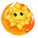 Die freudige Sonne auf mehrfarbigem Hintergrund Lizenzfreie Stockbilder