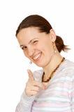 Die frohe junge Frau Stockfotos