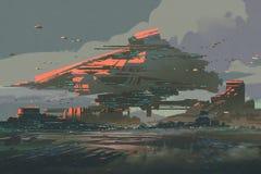Die futuristische Kolonie auf einem Planeten mit Mega- Strukturen lizenzfreie abbildung