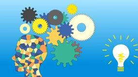 Die Gänge drehen sich, die Arbeit des menschlichen Gehirns, Animation, lizenzfreie abbildung