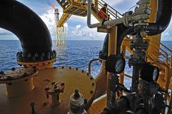 Die Gasfackel ist auf der Ölplattformplattform I Stockbild