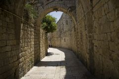 Die Gassen der alten Stadt von Jerusalem und das Heilige Land stockfoto