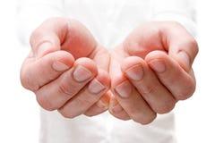 Die geöffneten Hände des Mannes. Lizenzfreie Stockbilder