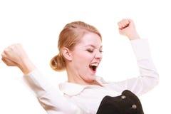die gebaar tonen van het handteken op wit wordt geïsoleerd Onderneemster het vieren bevordering Stock Foto