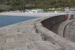 Die gebogene Wand des Cobb bei Lyme Regis, Dorset in England stockfoto